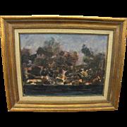 ROGER KUNTZ (1926-1975) California art modernist oil painting of a coastline