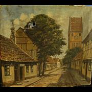 Scandinavian art Denmark street scene impressionist painting signed A Koogh Petersen