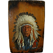 Native American art 1974 painting of Indian chief by Montana artist VIVIAN LOWREY