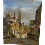 Contemporary Old Master style painting of a Dutch street scene