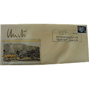 """CHRISTO (1935-) hand signed special edition envelope commemorating opening of 1991 """"The Umbrellas"""" installation in Southern California"""