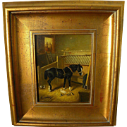 Contemporary European 19th century style painting of a barn interior including horse