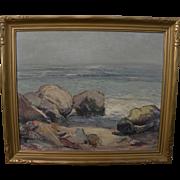 California art impressionist 1939 plein air painting of rocks at Big Sur shoreline
