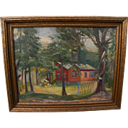 """RALPH LANDSMAN (c. 1890-1960) impressionist landscape painting """"The Red Bungalow"""" by American east coast artist"""