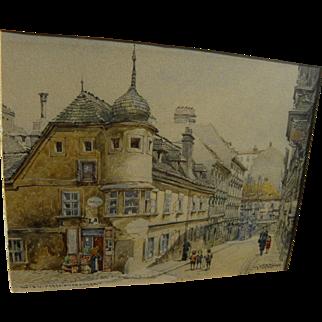 FERI SCHWARZ (1869-1923) fine watercolor painting of Vienna street scene by noted Austrian artist
