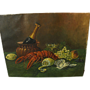 Vintage oil still life painting of lobster with fruit and champagne bottle
