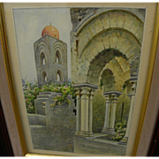 Watercolor painting of Mediterranean church architecture