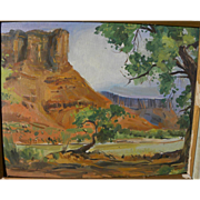 Southwest vintage landscape painting of dramatic red rock canyon probably Arizona