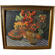 Vintage signed Southwest influenced floral and pottery still life painting
