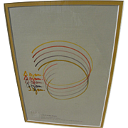YAACOV AGAM (1928-) original modern drawing by the Israeli Op Art master