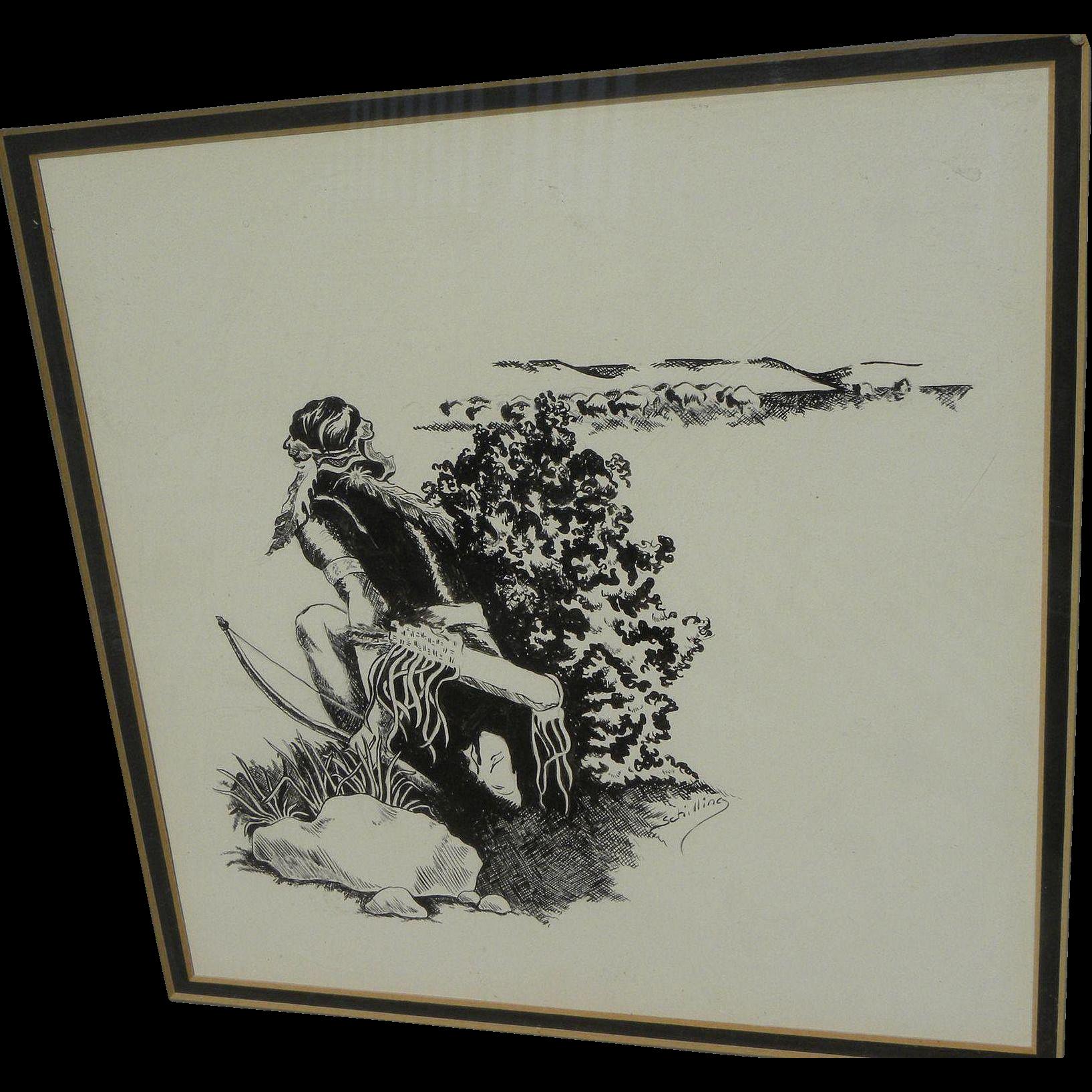 Vintage ink drawing of Native American Indian hunting bison signed Schilling
