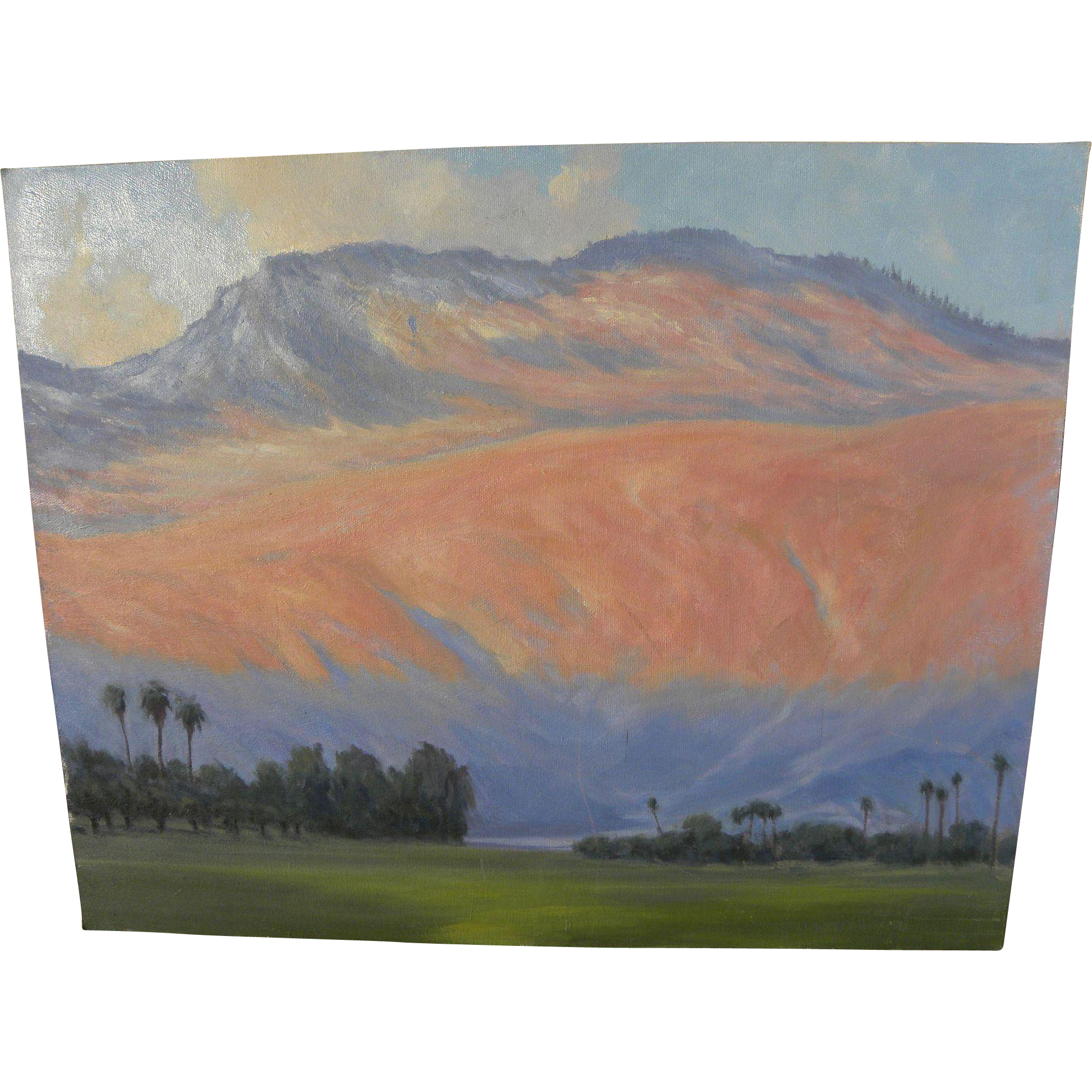California plein air art contemporary impressionist painting of Palm Springs area desert golf course