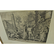 JAN PIETERSZ SAENREDAM (1565-1607) fine Old Master copper engraving of festive couples in a Dutch town 1596