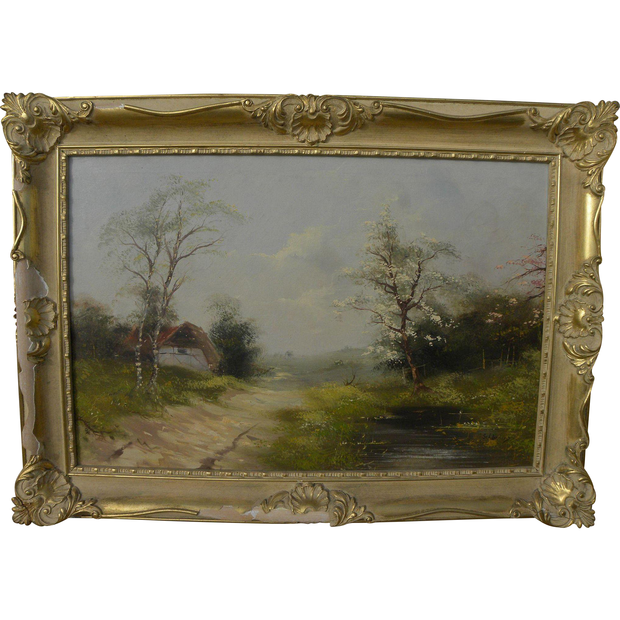 Scandinavian signed mid-century gentle impressionist landscape painting