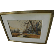 American 19th century watercolor landscape painting signed Emily M. Cornwall