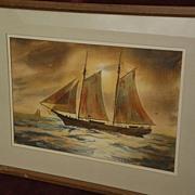 LOYAL MAYER (1919-2011) American marine art watercolor painting of schooner signed
