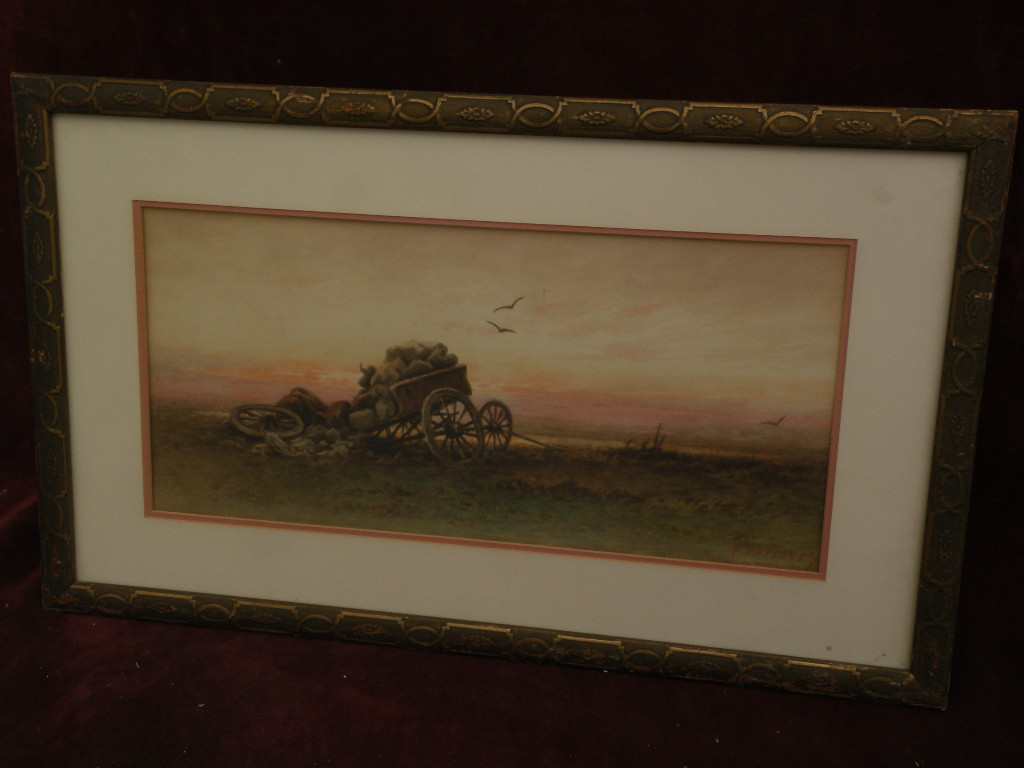 Western American watercolor painting dated 1896 signed P. PARSONS