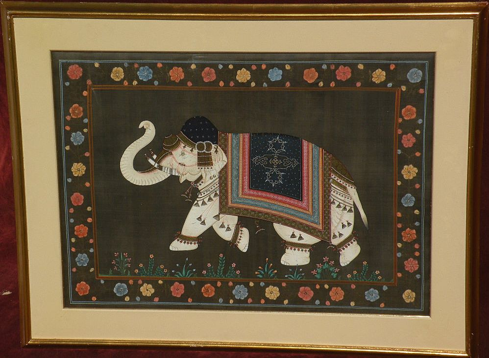 Asian Indian Royal Ceremonial Elephant detailed gouache drawing on silk