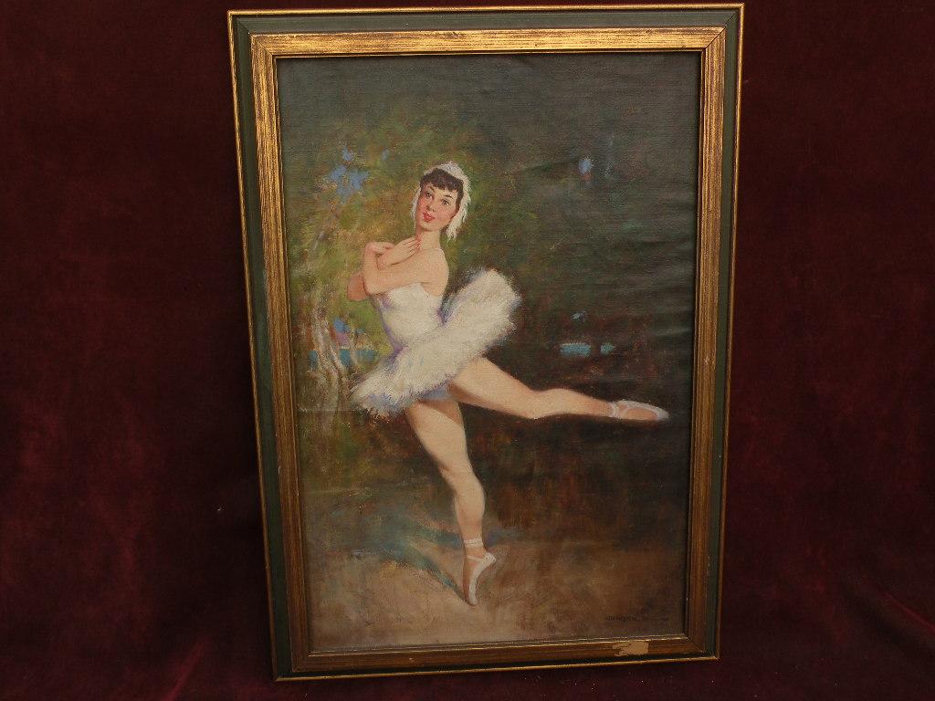 ANTAL JANCSEK (1907-1985) listed Hungarian art lovely ballerina oil painting
