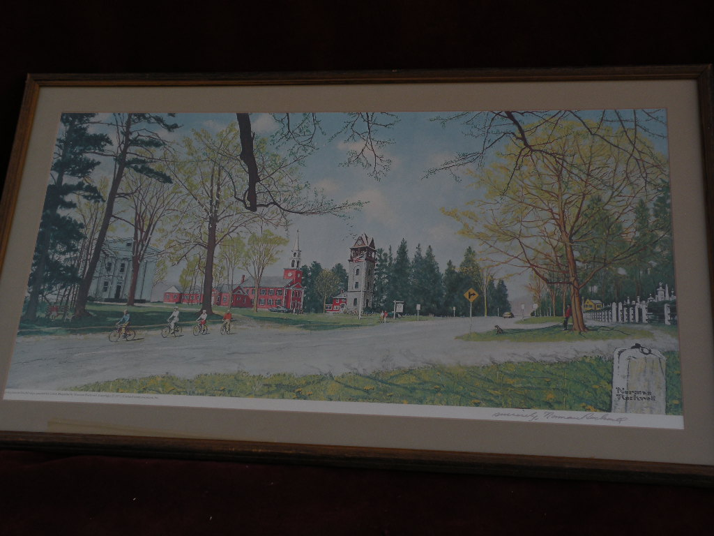 "NORMAN ROCKWELL 1971 hand signed poster print ""Springtime in Stockbridge"""