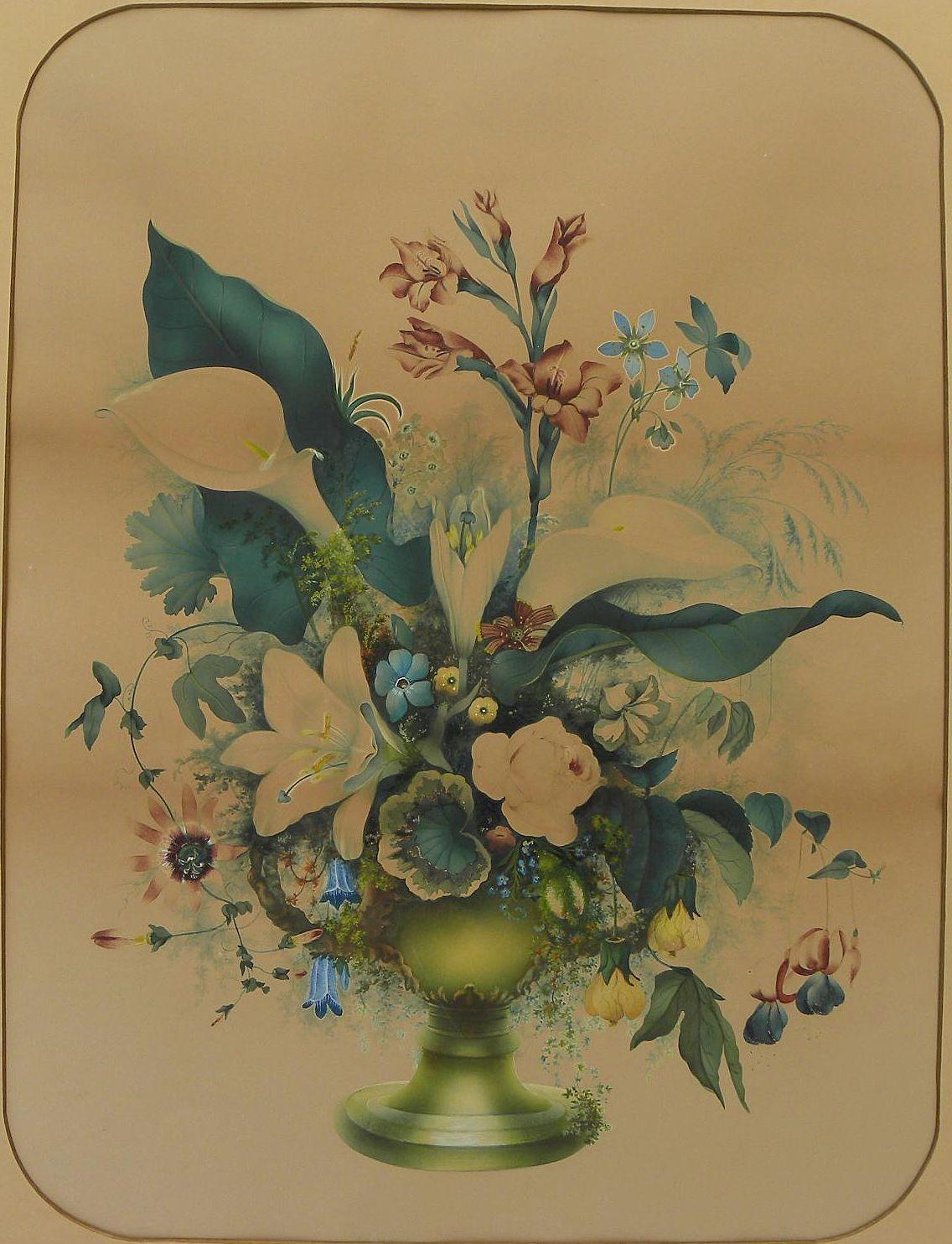 American folk art large mid 19th century watercolor and gouache still life painting