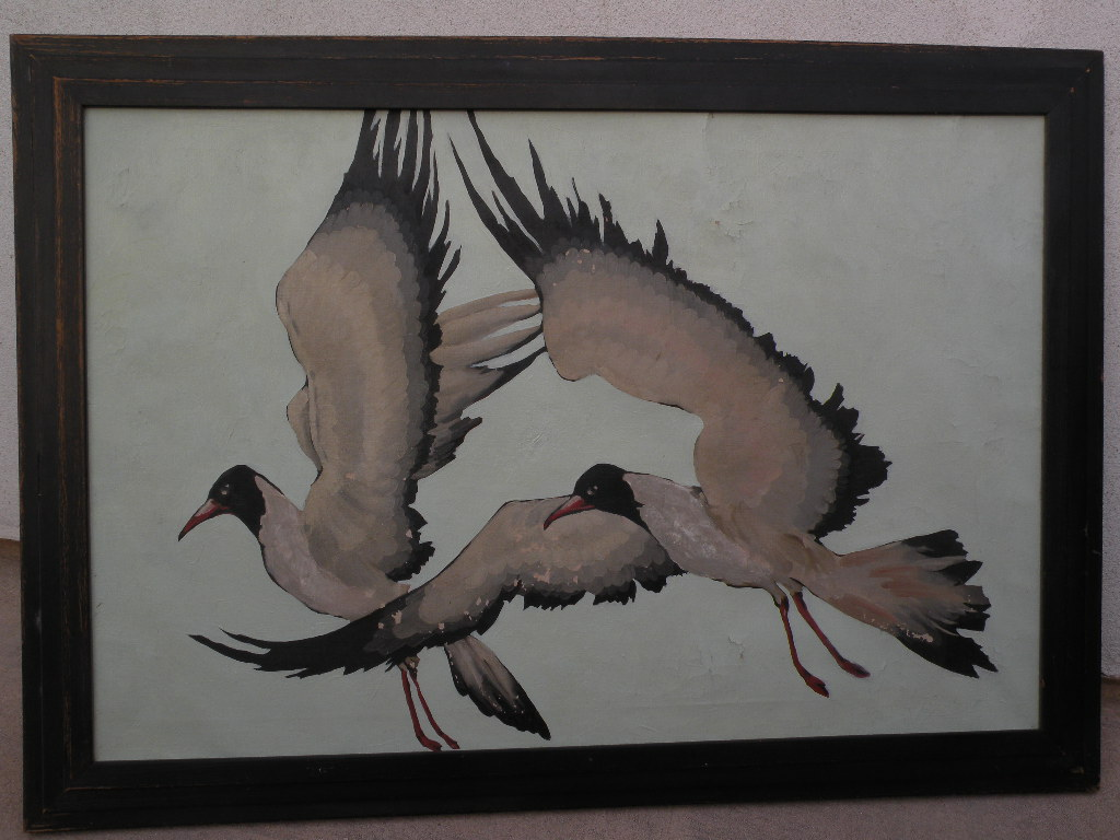 American Art Deco era painting seagulls in flight possibly by Jane Peterson or Stark Davis