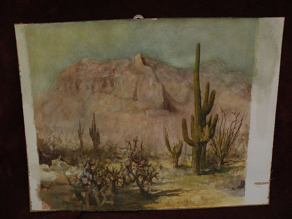 GREGORY JENKINSON (-2006)  listed Arizona Southwest art watercolor desert painting