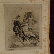 RUDOLF ERNST (1854-1932) major Austrian orientalist artist pencil signed etching of children playing