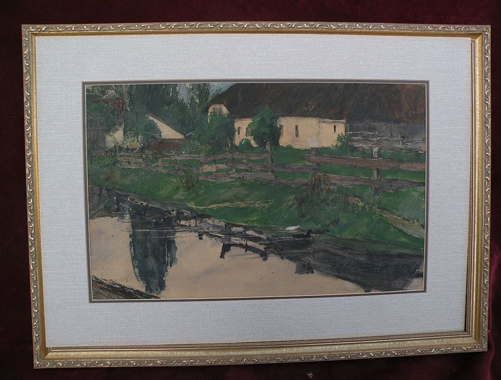 BENJAMIN RUTHERFORD FITZ (1855-1891) listed American art signed watercolor rural scene dated 1883