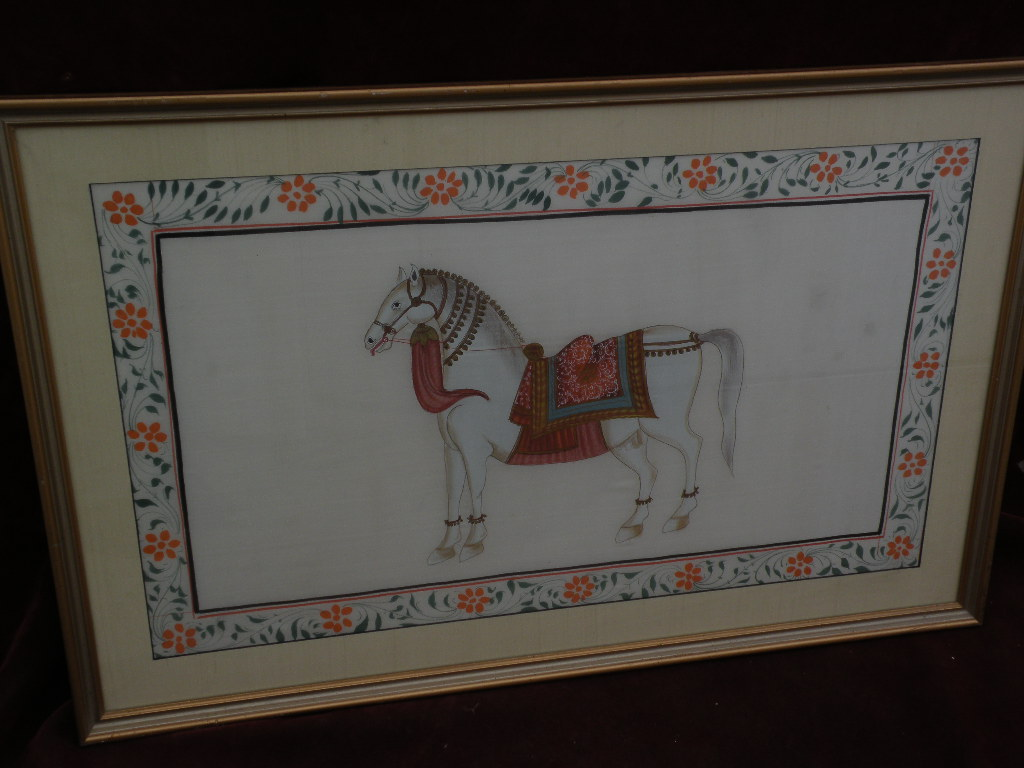 Asian Indian art royal decorated horse on silk painting