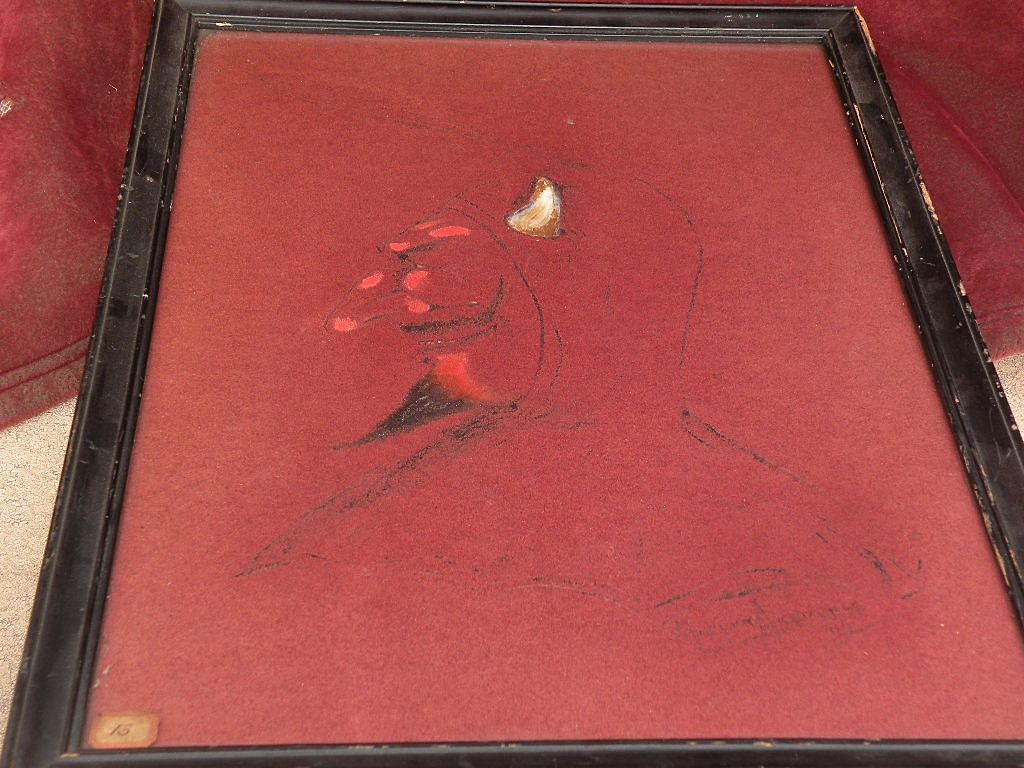 American illustration art 1904 signed drawing of a devil character