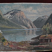 Scandinavian art Norwegian fjord painting signed JENS OYME