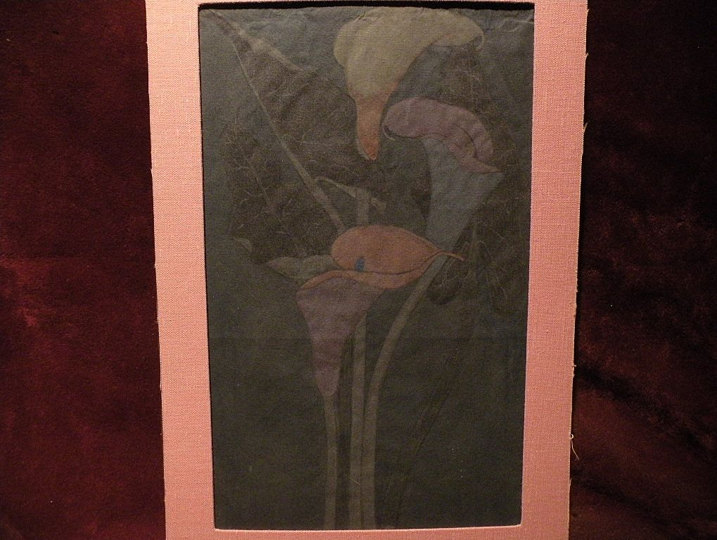 Pastel still life drawing on gray blue paper of Easter Lilies