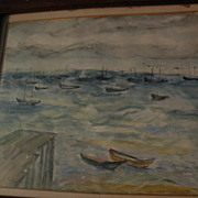 ELIAS NEWMAN (1903-1999) Israeli American art watercolor painting small boats in a harbor