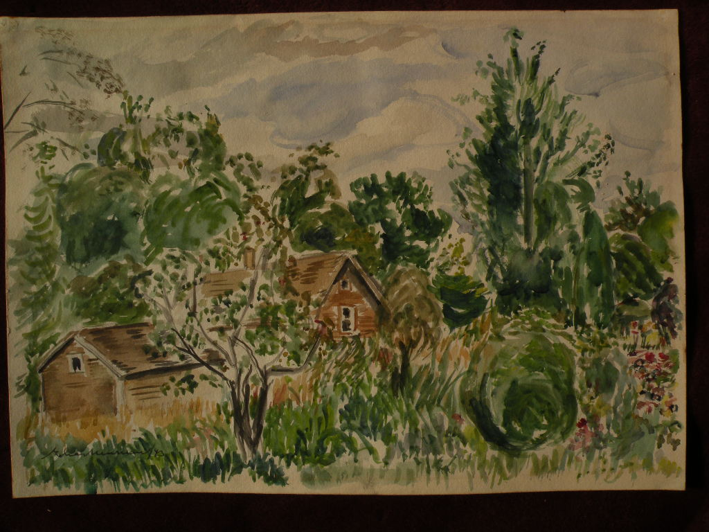 ELIAS NEWMAN (1903-1999) Israeli American art watercolor painting small shacks and trees dated 1943