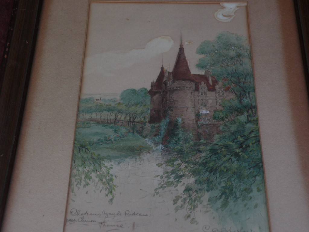 CHARLES B. BIGELOW (1860-1924) nineteenth century American art watercolor painting of French chateau