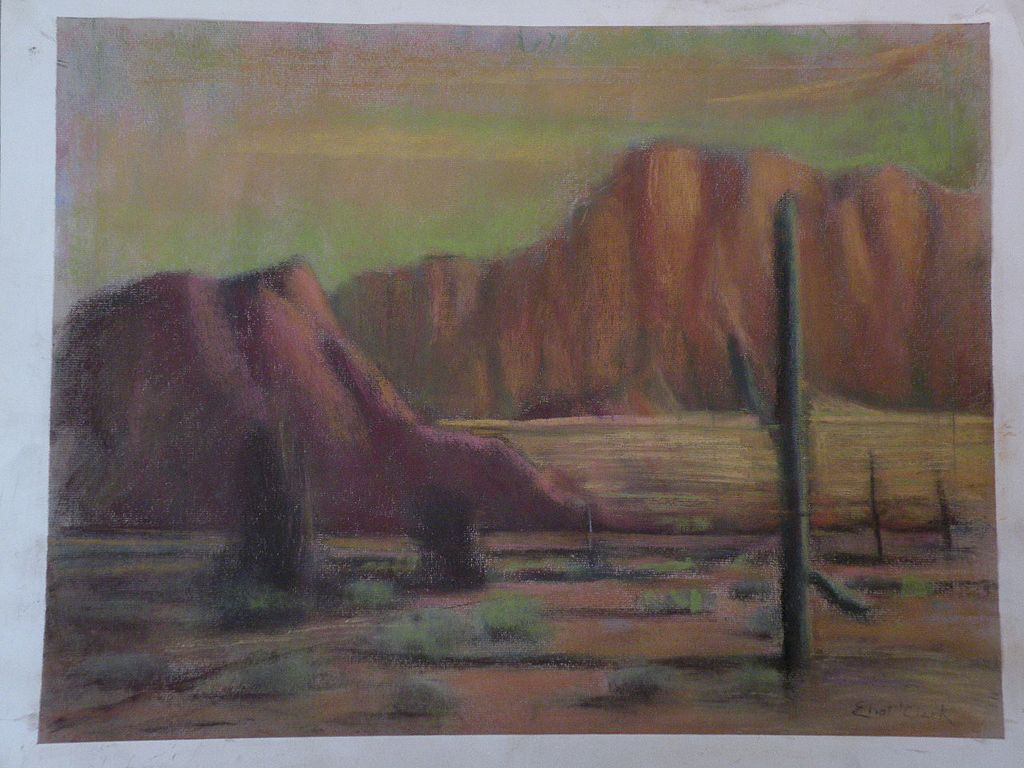 ELIOT CLARK (1883-1980) American art Arizona landscape pastel drawing