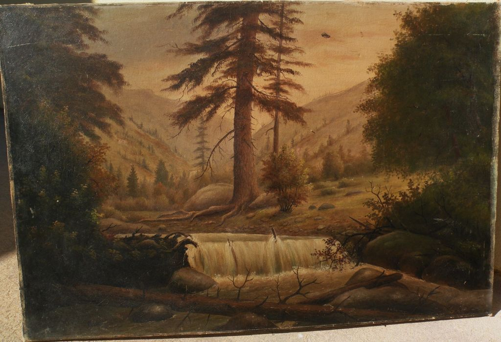 JESSE B. RADWAY (1826-c.1905) scarce listed early California and Kansas painter Colorado mountain painting