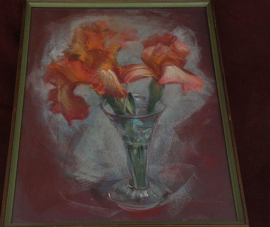 WAYNE LA COM (1922-) California listed art floral still life pastel drawing