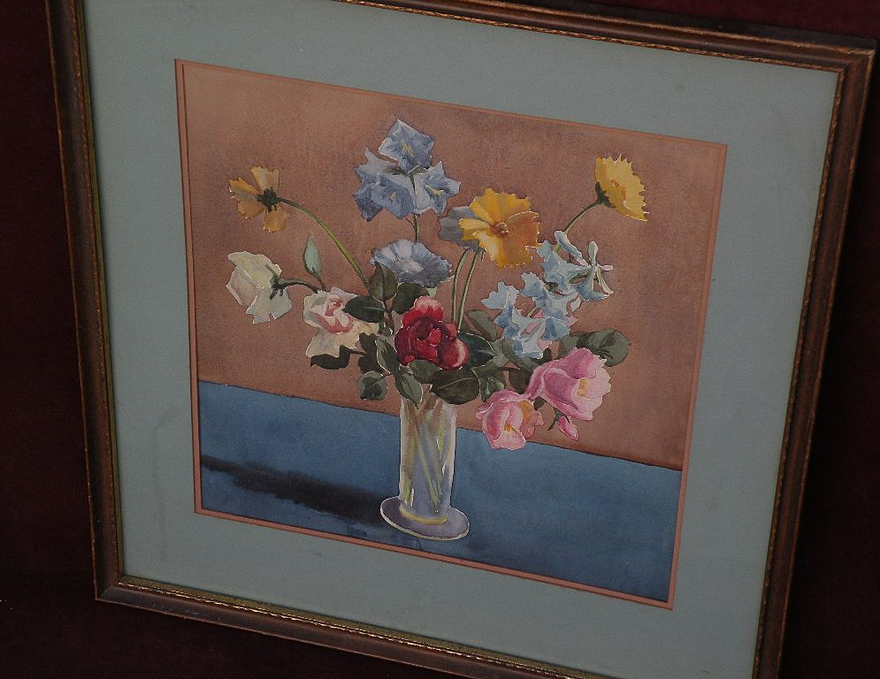 American still life floral watercolor painting circa 1940's