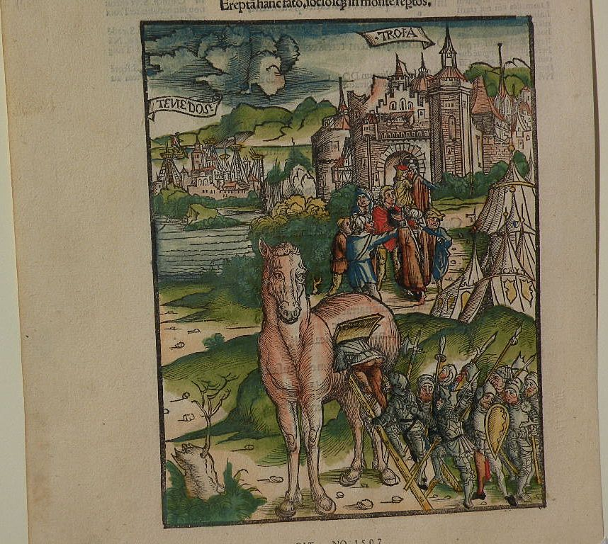 Old facsimile of medieval incunabula woodblock print book illustration by Johann Grueninger (1455-1533)