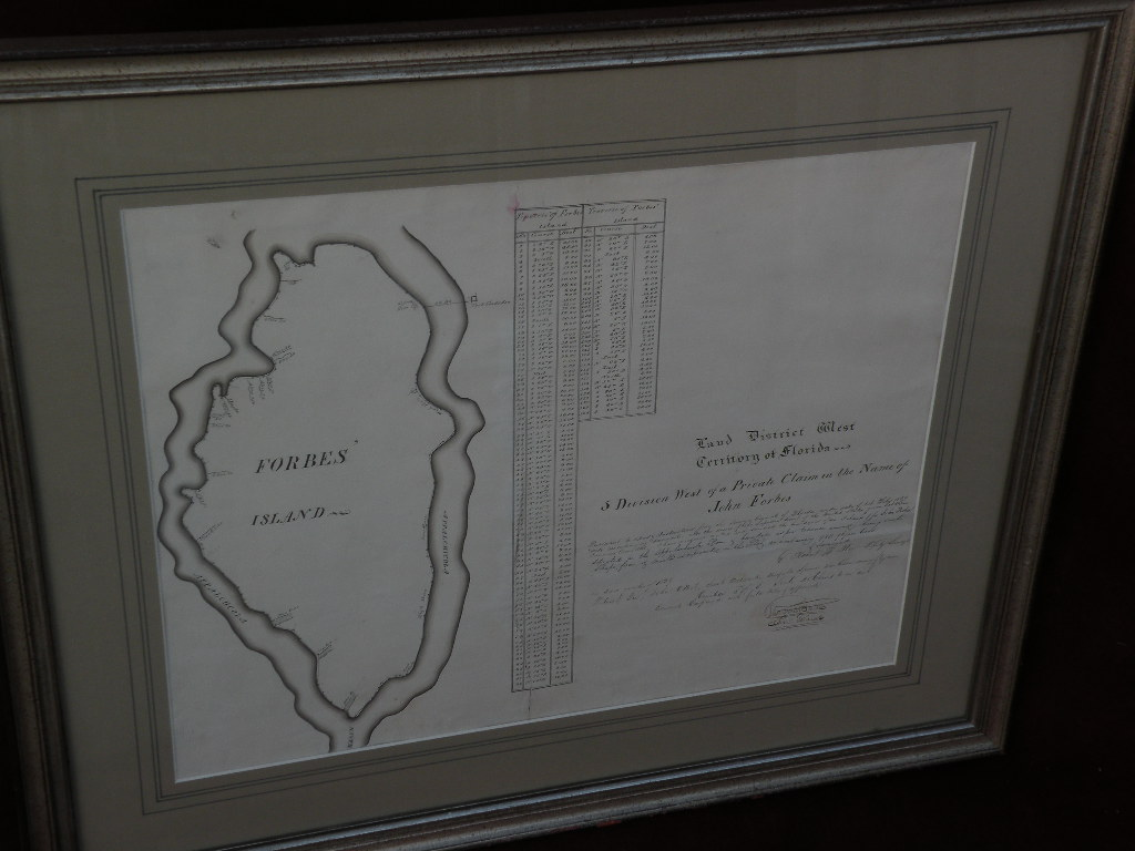 Scarce Floridiana:  hand drawn circa 1840 surveying map of island in Apalachicola River