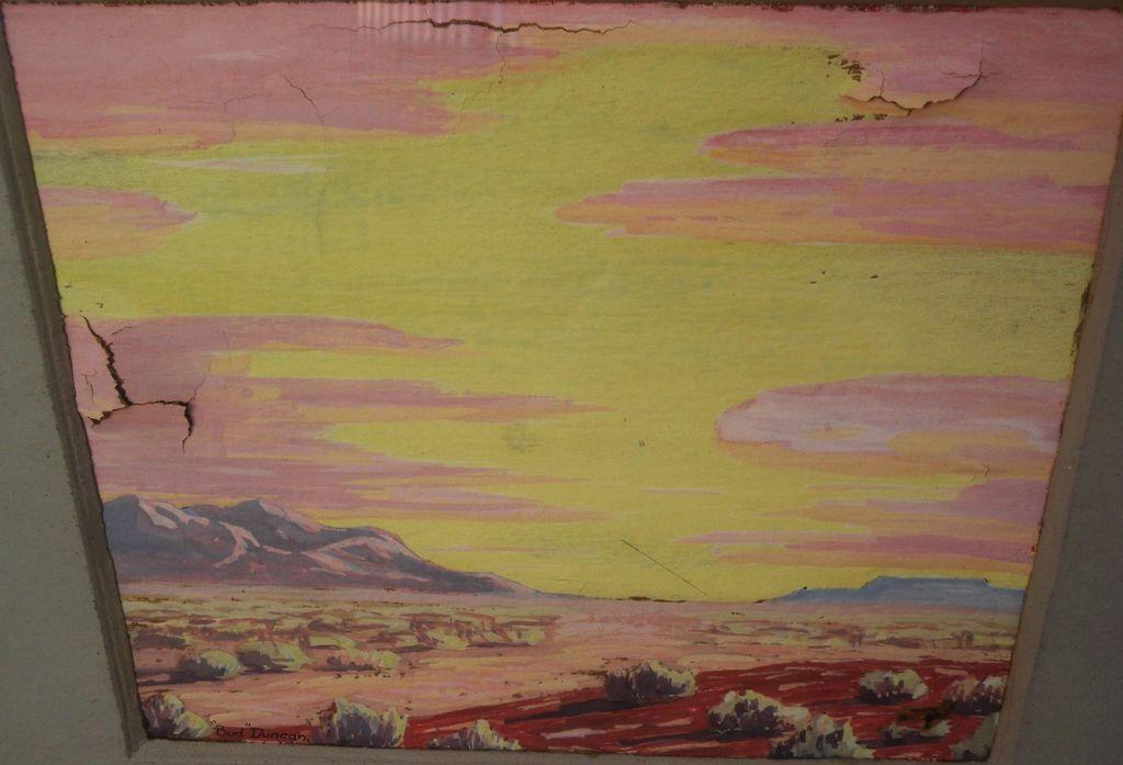 California Southwestern art vintage desert gouache painting signed BUD DUNCAN