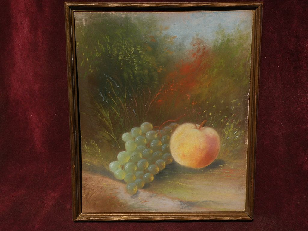 JOHN S. BOWER (19th century American art) pastel still life painting of fruit in a landscape