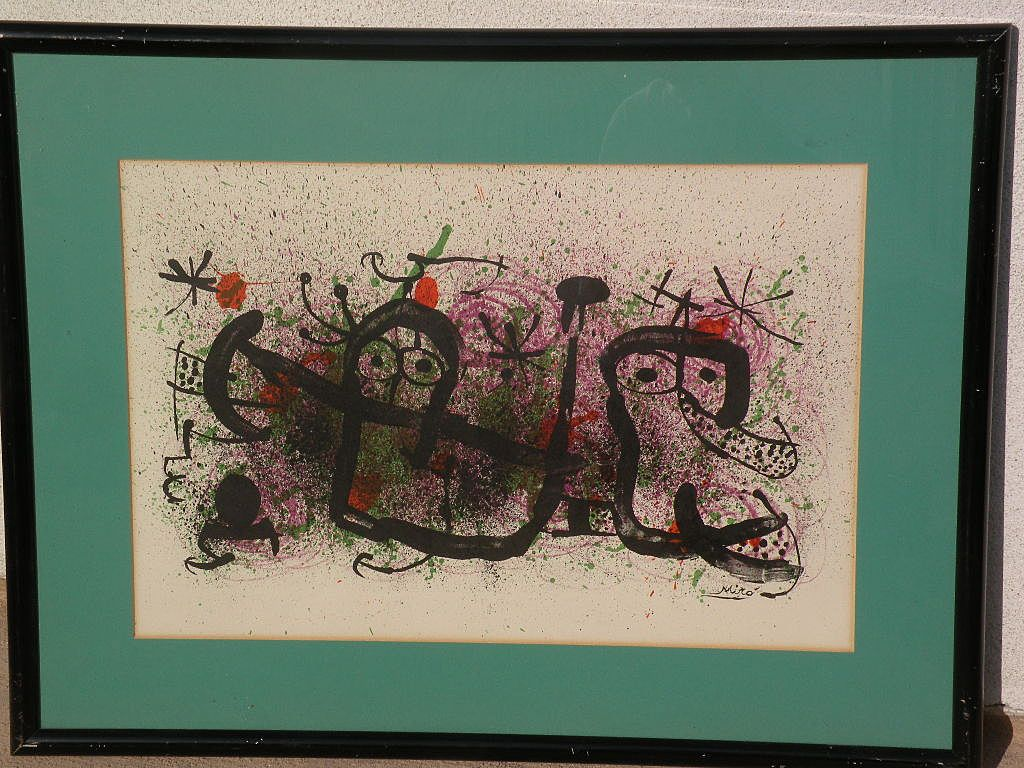 "JOAN MIRO (1893-1983) Spanish modern art original lithograph print circa 1970 ""Ma de Proverbis"""
