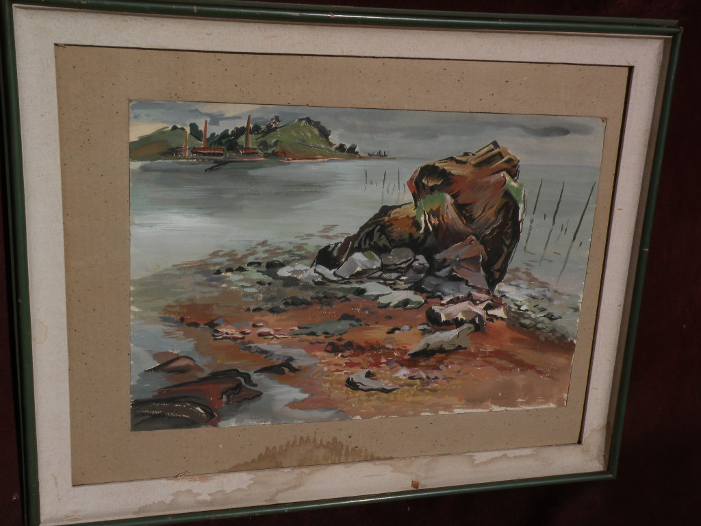 DENNY WINTERS (1905-1985) listed American art watercolor painting of shoreline dated 1943