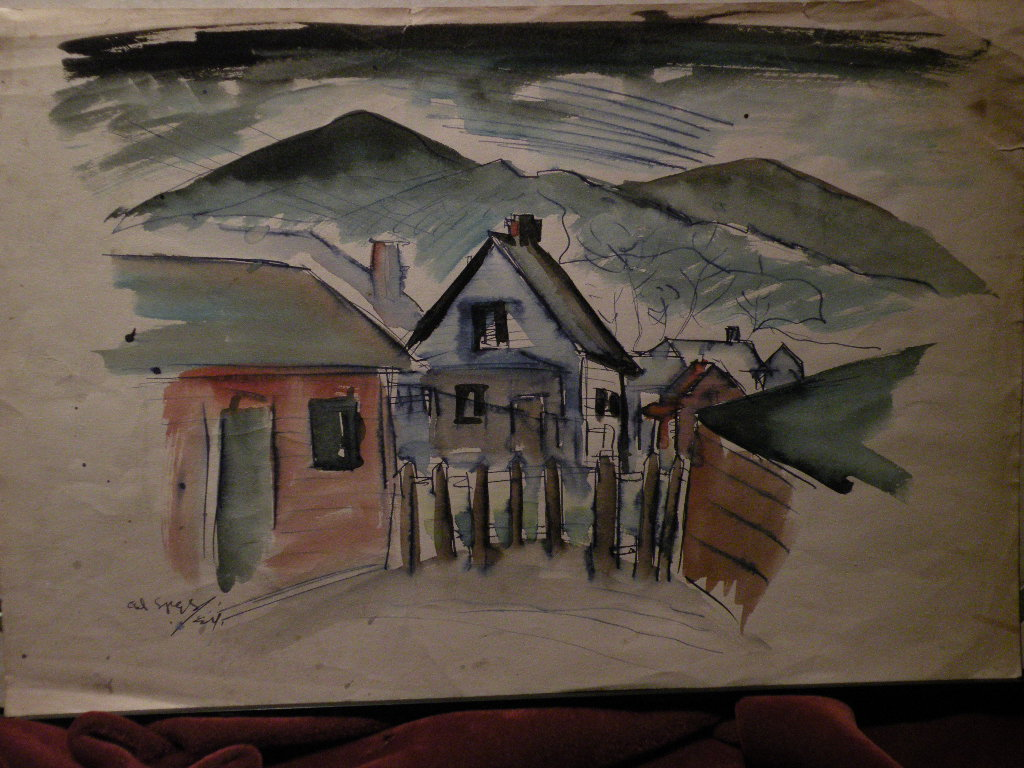 "Colorado art 1924 watercolor painting ""Colorado Springs"""