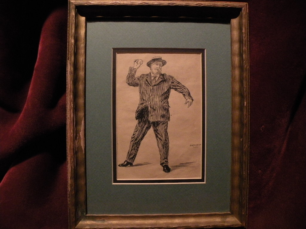 PAUL GRIMM (1892-1974) California art early illustration drawing of William Howard Taft throwing a baseball