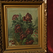 "Roses still life floral oil painting circa 1900 signed Myrtle Crittenden very ""shabby"""