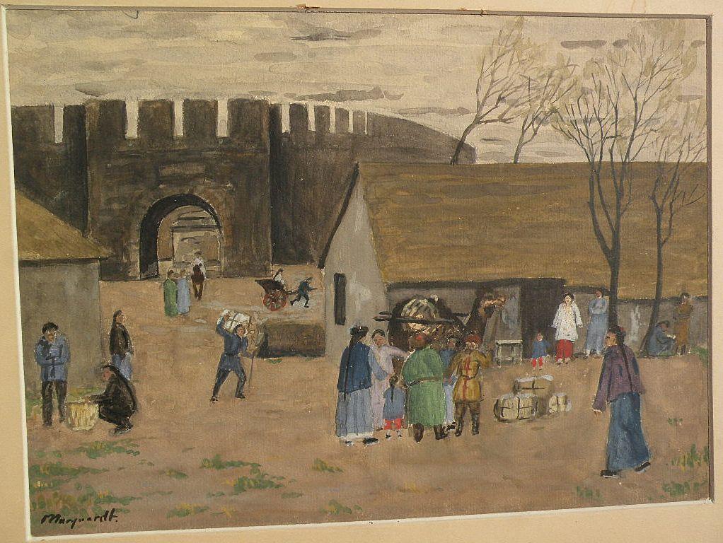 Orientalist subject matter German artist signed watercolor circa 1910